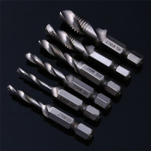 1-6Pcs-M3-M10-HSS-Metric-Hexagon-Hex-Tap-Tapping-Screw-Thread-Drill-Bits-Set