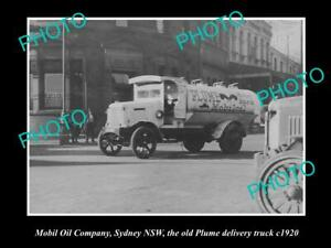 OLD-8x6-HISTORIC-PHOTO-OF-MOBIL-OIL-COMPANY-PLUME-DELIVERY-TRUCK-c1920s-NSW