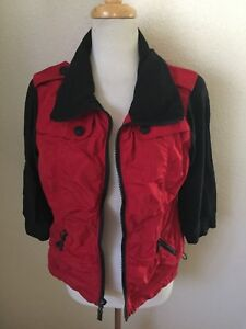 Zenergy-By-Chico-039-s-Zip-Front-Jacket-Size-1-M-Red-Black-100-Polyester