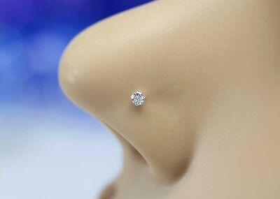 10K Solid White Gold Small 2mm CZ Nose Stud Nose Ring Nose Piercing Jewelry