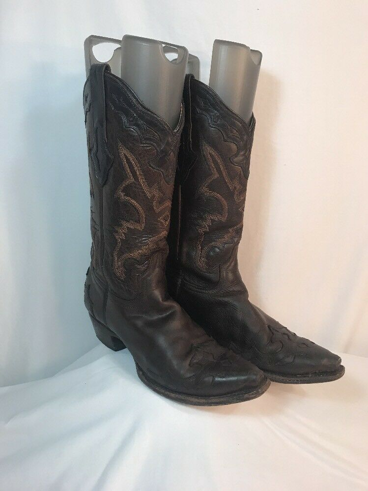 Resistol Ranch Lucchese Women's 8.5M Leather Cowboy Boots Brown Midcalf
