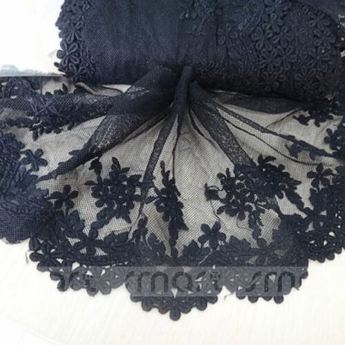 1 Yard Black Vintage Fabric Crochet Grenadine Lace Trim Ribbon Sewing Craft