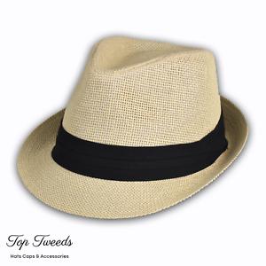 Mens-Straw-Trilby-Beach-Sun-Hat