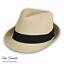 Mens-Straw-Trilby-Beach-Sun-Hat thumbnail 1