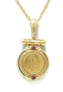 1995-US-5-Dollar-1-10oz-Gold-Coin-14k-Pendant-Enhancer-9-Grams