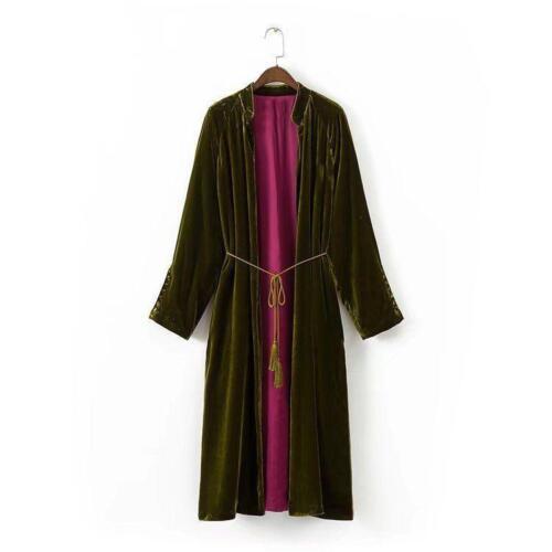di manicotto Cappotti modo di velluto del allentati del del cardigan rivestimento cardigan allentato del lungo delle rosso signore farxwf7T