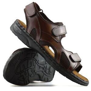 Details zu Mens Leather Hiking Walking Summer Beach Mules Sports Trekking Sandals Shoe Size