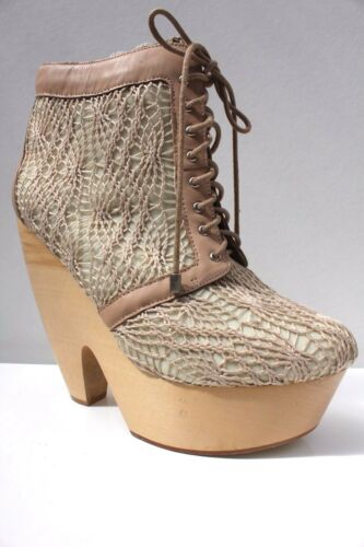 Ankle Beige Up New Messeca 7 9 Platform Boots Heel High Lace Block 5 40 Us qEf0wU