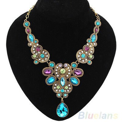 Hot Fashion Women Retro Multicolor Rhinestone Drop Choker Chain Pendant Necklace