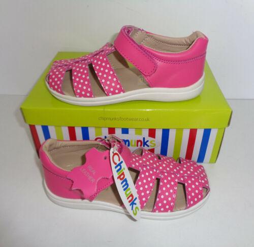 New Chipmunks Infant Girls Leather Sandals Pink Shoes Kids Sizes UK 9 10 11 12