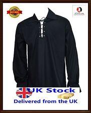 Scottish Jacobite Ghillie Kilt Shirt Leather Cord Sizes S - -XXXXXL, Black Shirt