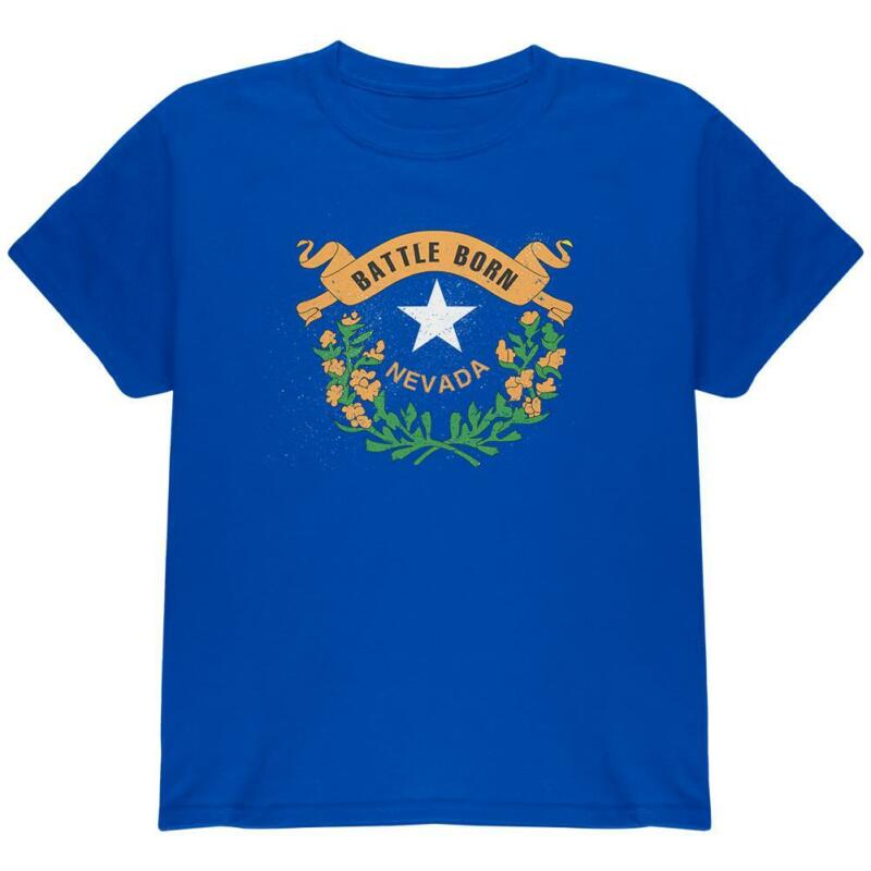 Born And Raised Nevada State Flag Youth T Shirt