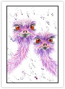Watercolour Print Greeting Card Ostriches Purple Notelet Blank Birthday