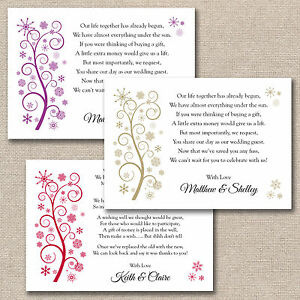 Monetary Gift Poem Wedding Invitation : ... Wedding Poem Cards For Invitations Money Cash Gift ANY COLOUR eBay