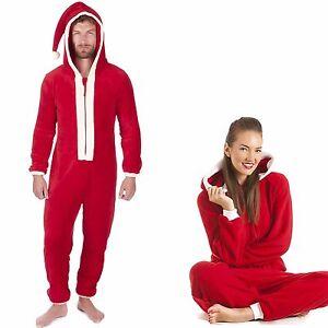 b86aa6fa111 Unisex Adult Red Plush Christmas Santa Claus Hooded Onesee Pyjamas ...