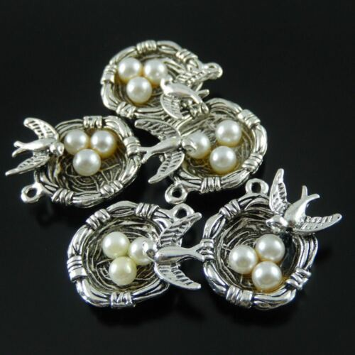 37288 Weinlese-Silber-Ton-Vogel-Nest-Weiß Olivet Acryl Ei-Anhänger-Charme 14pcs