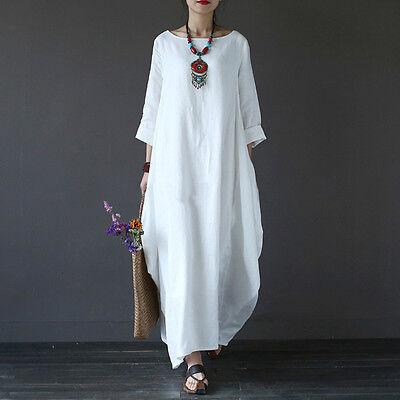 New Women Vintage Hippy Boho Tunic Loose Long Maxi Dress Kaftan Plus Size: L-5XL