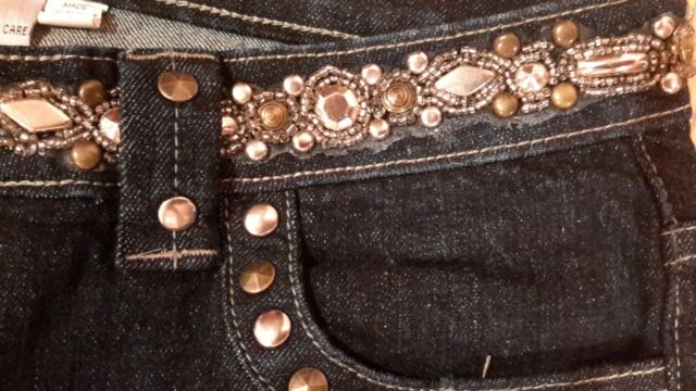 Women's Cache Dark Blue Jeans with Studs Size 8 Petite