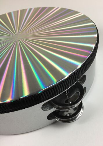 "Tambourine 8/"" Double Row Jingles Synthetic Head Prismatic Design"