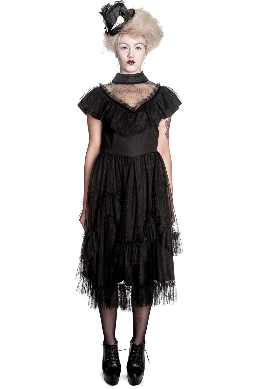 Spin Doctor Gothic Emo Dark Side schwarz Swiss Dot Lace Augustine Party Dress