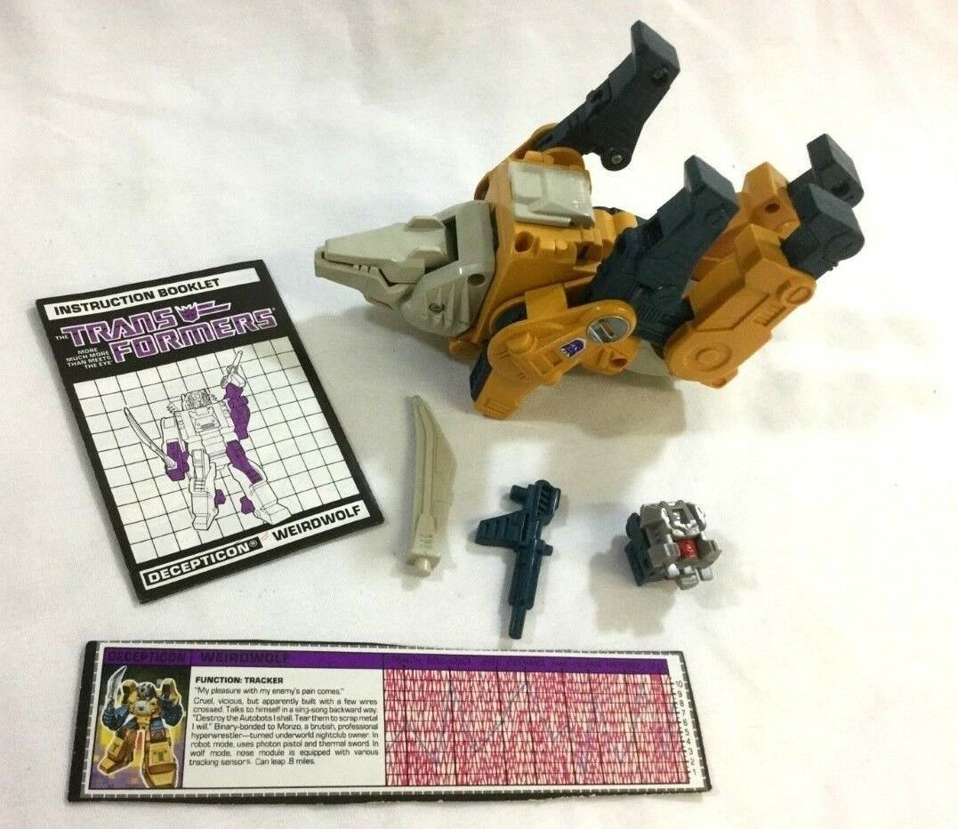1987 G1 Transformers Headmasters Weirdwolf Figure Complete Booklet Weapons Weapons Weapons 94e5e9