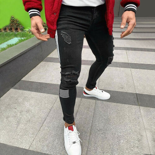 Men/'s Skinny Jeans Distressed Ripped Stretch Trousers Slim Striped Pants Black