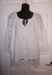 Michael-Kors-100-Cotton-White-Embroidered-Tunic-Blouse-Shirt-Size-S-Small