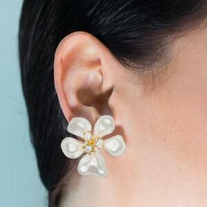Details About Kenneth Jay Lane Jewelry White Pearl Flower W Crystals Clip On Earring New