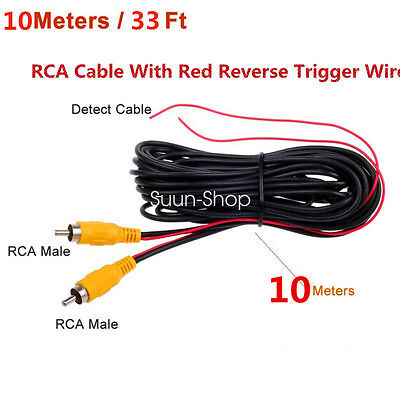 10m 33ft Car Rca Av Rear View Backup Camera Video Cable Cord With Red Trigger Aromatic Flavor Car & Truck Parts