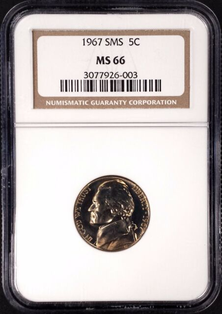 1967 SMS Jefferson Nickel certified MS 66 by NGC!