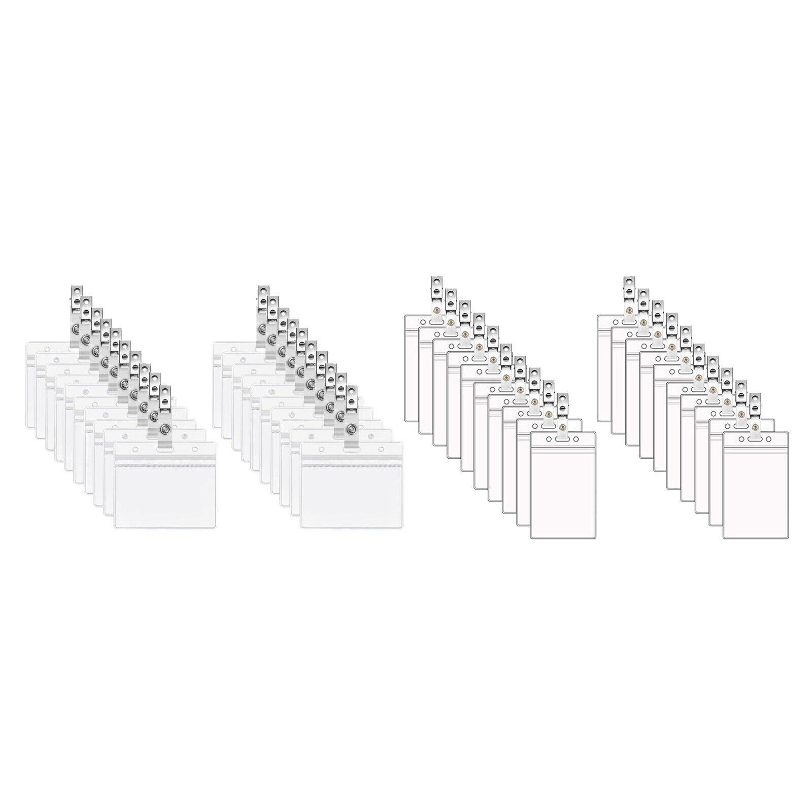 Paquet de 20 porte-badge d'identification Porte-cartes en plastique transparent