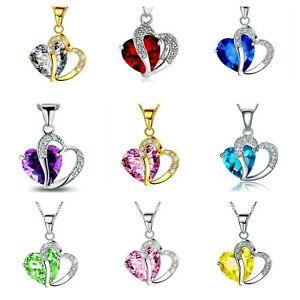 Dorado-O-Plateado-Cristal-Collar-Con-Corazon-Varios-Colores