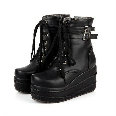 Womens Platform Wedges Buckle Decor Lace Up Ankle Boots Punk Goth Creeper Shoes