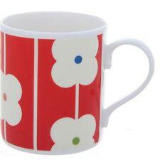 Orla Kiely Bone China Mug - Red Abacus Design. White china tea or coffee cup
