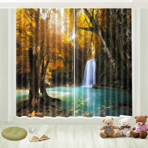 Autumn Woods Waterfall 3D Photo Printing Window Curtains Blockout Drapes Fabric