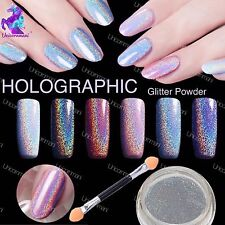OLOGRAFICA NAIL Powder 2G ARCOBALENO EFFETTO GLITTER Ultra Sottili argento polvere HOLO UK