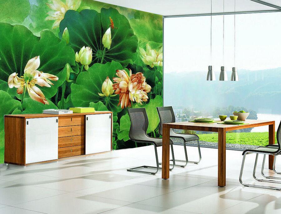3D Grün Lotus 411 Wallpaper Murals Wall Print Wallpaper Mural AJ WALLPAPER UK
