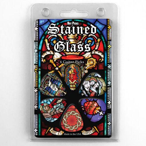 "Medium Hot Picks /""STAINED GLASS/"" Guitar 6 Pick Pack Clamshell Pics Skulls"