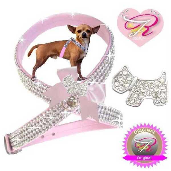 Rigoroso Cani Chihuahua Pettorina Strass Pettorina Artleder Rosa Doggy Xxs-m R2