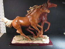 Holly's Creations 1999 HORSES RUNNING FIGURINE WITH ATTACHED BASE New Old Merch