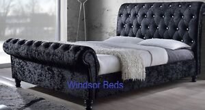 upholstered sleigh beds.  Sleigh Image Is Loading 3ft4ft65ft6ftAstralCrushVelvetFabric And Upholstered Sleigh Beds