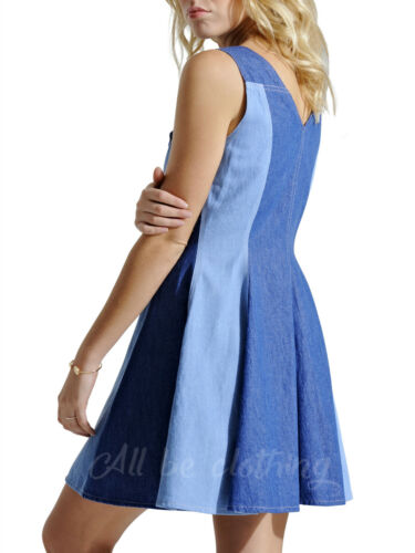 New In Womens Lightweight Skater Striped Panel Denim Dress Sizes 8 10 12 14 16