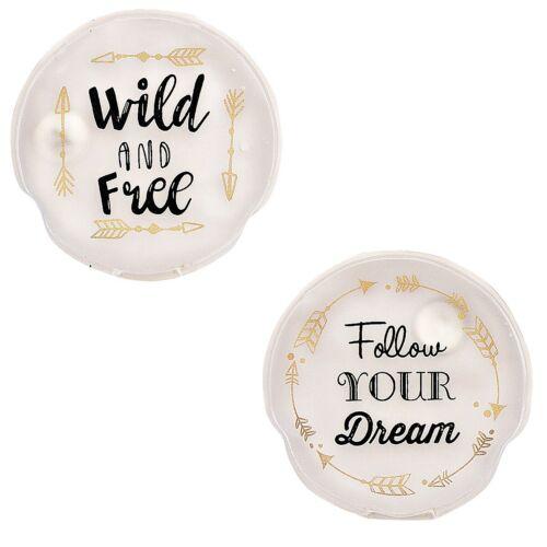 2er-Set Handwärmer//Taschenwärmer Wild /& free//Follow your dream wiederverwendbar