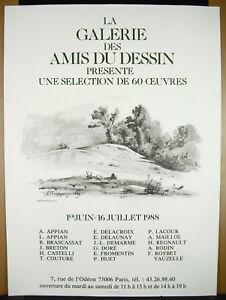 Affiche Galeire Des Amis Du Dessin Anciens 1988 Imp Arte Pour Adrien Maeght