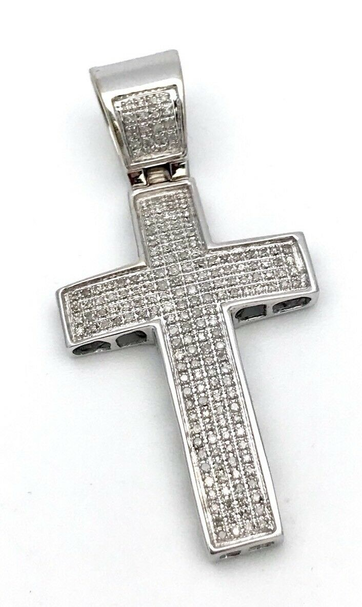 14k White gold 1.25CT Pave Diamond Cross Pendent