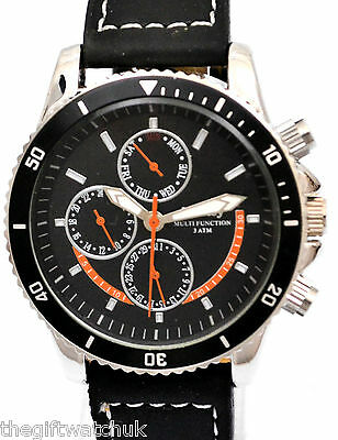Henley Mens Black Watch with Multi Function Day Date & 24 Hour WORKING DIALS