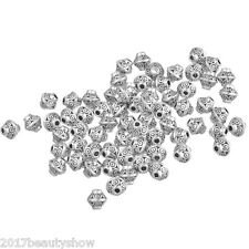 100Pcs Silver Tone Bicone Spacer Beads Jewelry 6x6mm
