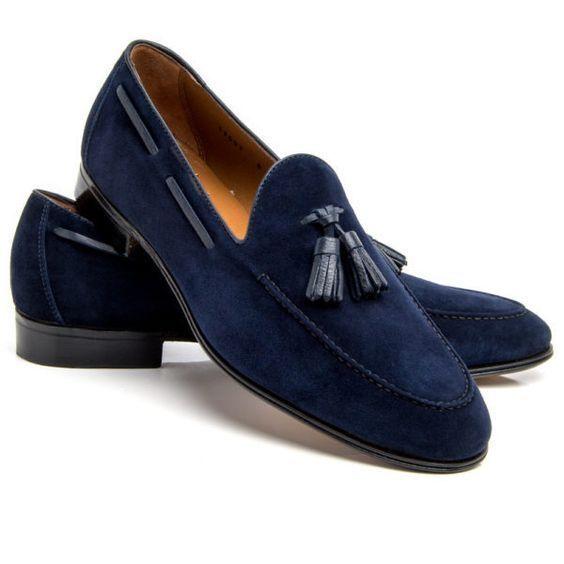 Handmade Men Driving shoes, Men Navy bluee Tassels shoes, Men bluee suede shoes