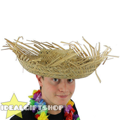 2 x Tropical Hawaiian Flower Hula Luau Party Beachcomber Straw Hat Fancy Dress