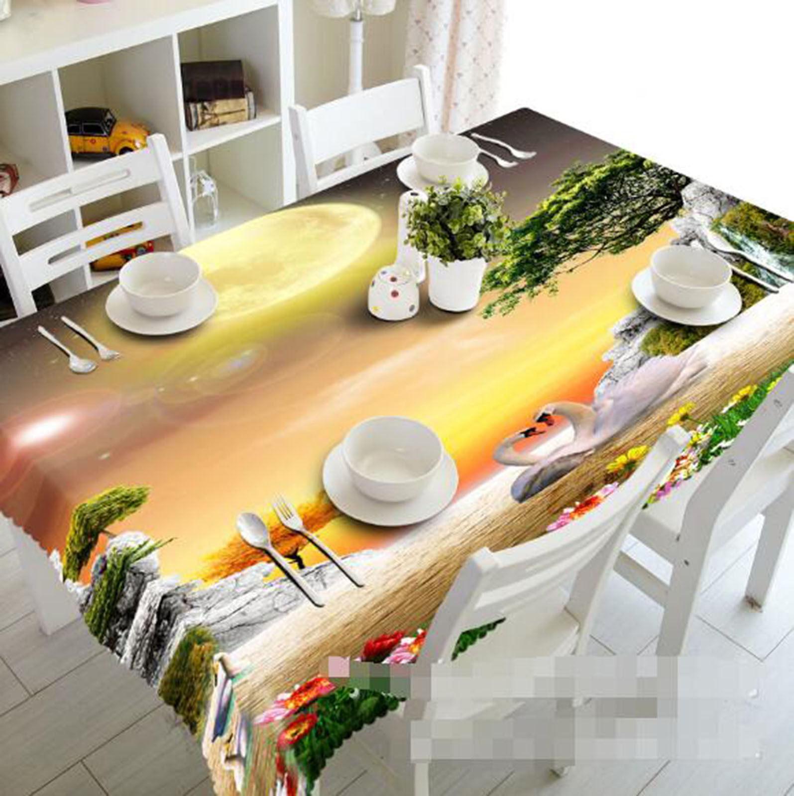 3D Moon 57 Tablecloth Table Cover Cloth Birthday Party AJ WALLPAPER UK Lemon